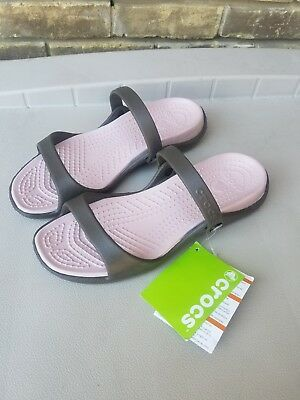 Crocs ~ Chocolate/cotton Candy Pink Cleo Sandals Womens Size 11(New)