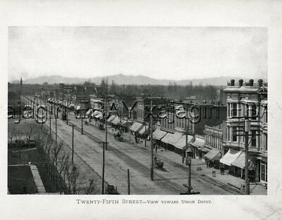 UTAH Ogden Historic 25th Street, 1901 Antique Photogravure Print