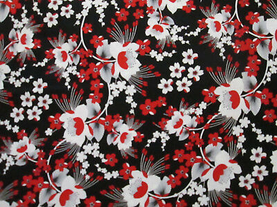 Moon Flowers Red Black Flowers Black Cotton Fabric Fq