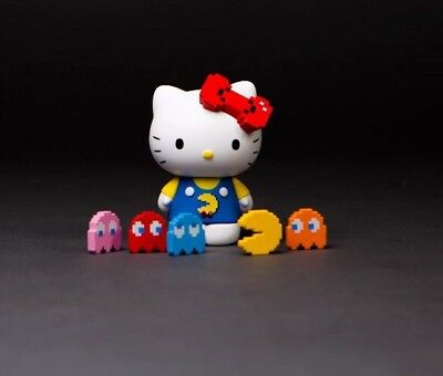 IN HAND Pacman x Hello Kitty x Bait Figure Set 2017 SDCC Exclusive Colored Ver