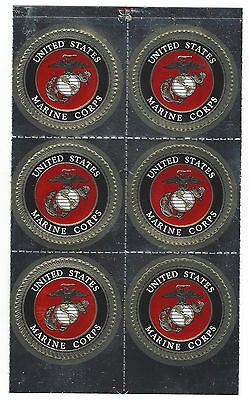"USMC United States Marine Corps Vinyl Window Stickers decal 6 pack 1 & 1/2"" each"