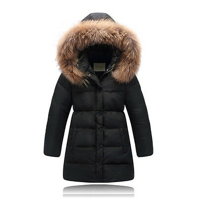 Children duck down jacket large fur collar long thick winter jacket girls coats
