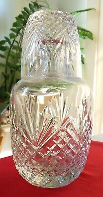 Vintage Clear Cut Glass 2-Pc Night Set Bedside Water Carafe & Matching Tumbler