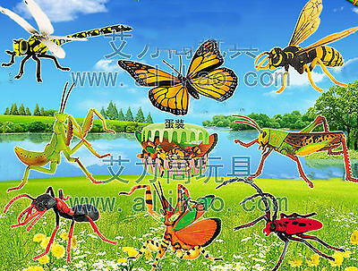 A Set 8 kinds 4D Animal Insects Puzzle Toy Assembly Ant Wasp Butterfly Egg #B-70