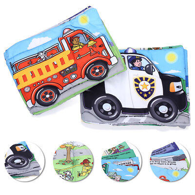 Toddlers Educational Development Cloth Book Toy Set of Police Fire-Fighting Car