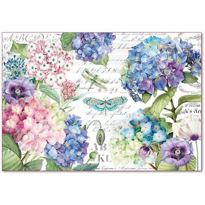 1 Blatt Decoupage Reispapier DFS398 Hydrangeas and dragonfly