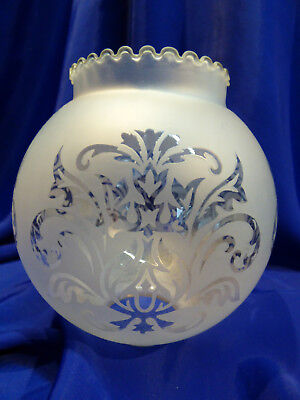 GLOBE DE LAMPE A PETROLE EN VERRE SATINE & DECOR . H 142 mm D 45/46 mm. REF 4481