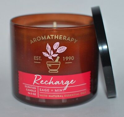 Bath & Body Works Aromatherapy Recharge Sage Mint Candle 3 Wick 14.5 Oz Large