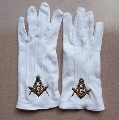 Masonic Freemason Gloves Square and Compass Embroidered