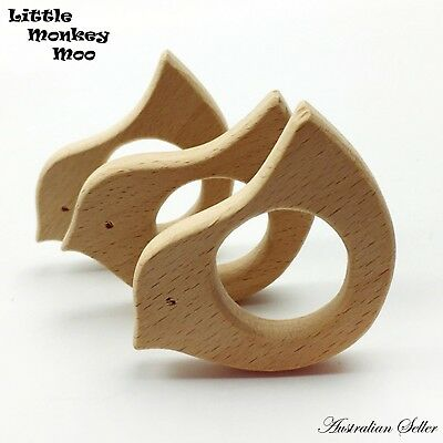 1 Bird Wooden Teething Ring Natural Organic Beech Wood Teether Baby Untreated