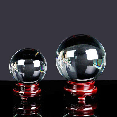 Transparent Wooden Stand Glass Ball Asian Magic Sphere Feng Shui Home Crystals