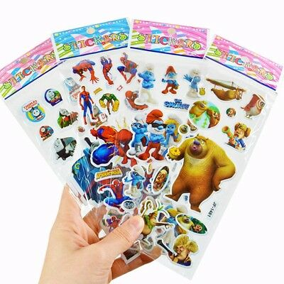 1/10 Sheets Multiple Styles 3D Lovely Cartoon Bubble Stickers for Kids Gift Toy