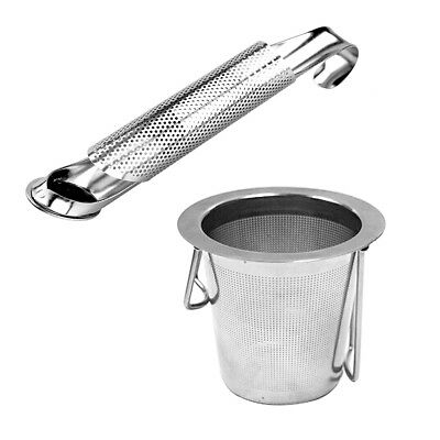 1pc Stainless Steel Round Tea Infuser Filter Strainer Sieve & Tray Metal Cup Mug