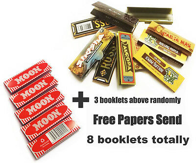 Moon Cigarette Tobacco Rolling Papers 70*36mm 5 Booklets=250 leaves smoking gift