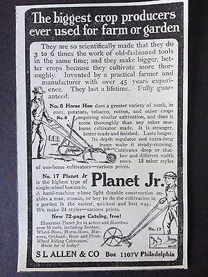 Vintage Ad 1918 (Xx37)~Planet Jr. No.8 Horse Hoe And No.17 Single Wheel Hoe