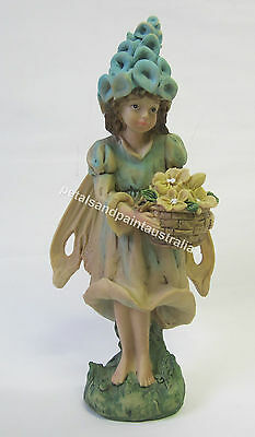 23cm Blue Girl Fairy Ornament With Flower Basket Suits Fairy Garden, Cake Topper