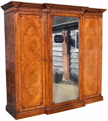 Victorian Burr Walnut Three Door Wardrobe
