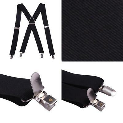 "Hde Mens Big And Tall X-Back Clip Suspenders 1.5"" Wide Adjustable 55"" Long Black"