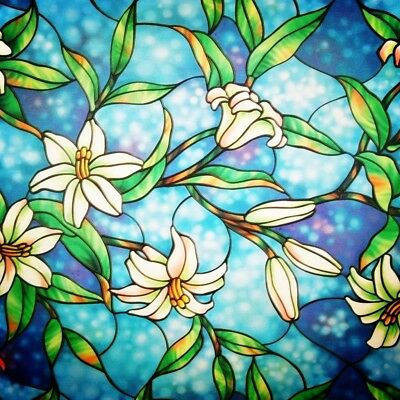 Faux Stained Glass Window Cling Film Flowers White Blue Privacy Frosted