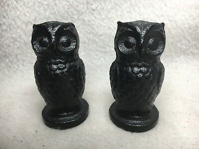 Vintage Cast Iron Owl Figure Lamp Finials Set Of Two
