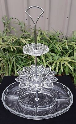 Vintage Retro Pressed Glass Three Tier Cake High Tea Jewellery Stand