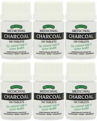 6 x Bragg Charcoal 100 Tablets Braggs Lactose Free Tabs New Box - (6 Pack)
