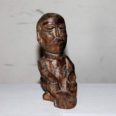 Old Antique Beautiful Hand Carved Wooden Sitting TRIBAL Man Figure / Doll #686