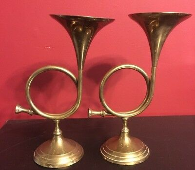 """Pair Of French Horn Solid Brass Candle Holders Great Patina 9.5"""" India"""