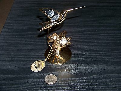 Crystal Delight 24k plated hummingbird with flowers, Austrian crystals - on base
