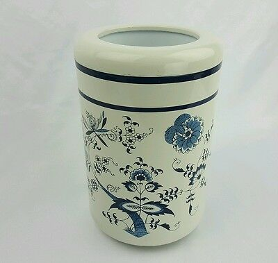"""Blue Danube Lacquer Ware Wine Cooler Ice Bucket 8.25"""" x 5.5"""" White Blue Floral"""