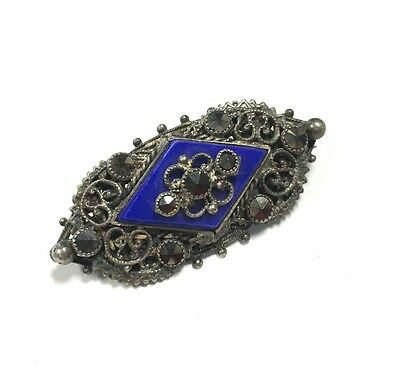 VTG Estate Antique VICTORIAN Blue Glass & Marcasite Brooch Antique Silver G141e