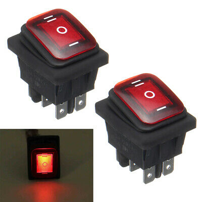 Waterproof 3-Position Rocker Switch Red LED ON/OFF/ON 6-Pin DPDT AC 10A/250V
