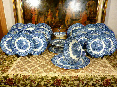 Vintage Essservice Wedgwood Woodland Made in England 6 Person 23 Teil Blau