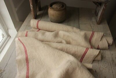 Antique French linen WASHED red stripe bolt PER YARD  PURE LINEN fabric