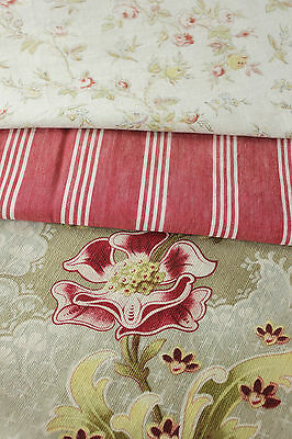 Antique Vintage French fabric Coordinating faded beautiful + ticking ~ 19th