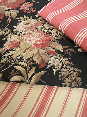 Antique Vintage French fabric Coordinating materials pillow pack black + pinks