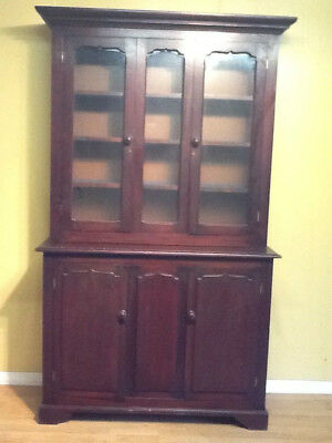 Antique Welsh beech and pine kitchen cupboard glazed dresser