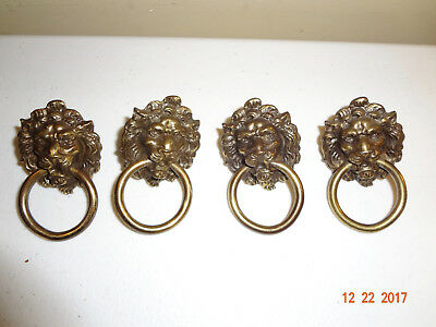 Lot of 4 Vintage Brass Lions Head with Ring Drawer Pulls