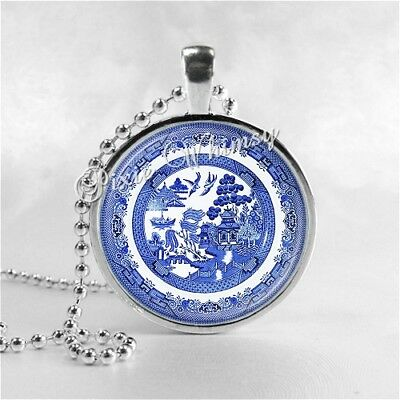 BLUE WILLOW Pattern Pendant Necklace, Blue Willow Collector Gift