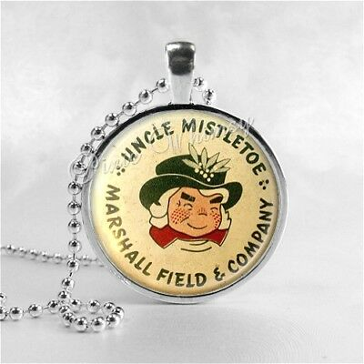 MARSHALL FIELD Uncle Mistletoe Christmas Glass Art Necklace, Chicago IL