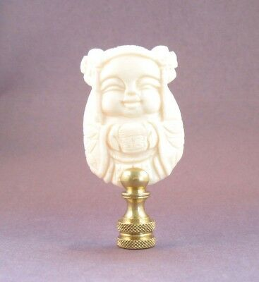 Lamp Finial Bleached Carved Bone Classic Asian Design Lampshade Top B2