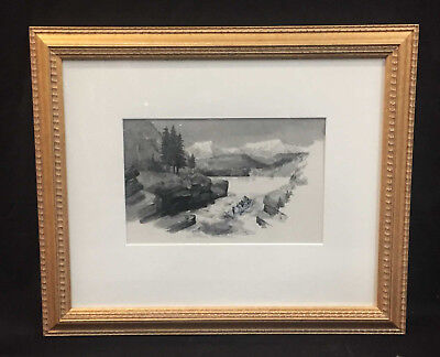 19Th Century Canadian Watercolour - Shooting The Rapids - Fully Framed