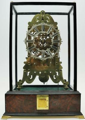 Very Rare Antique English Twin Fusee 8 Day Bell & Cuckoo Striking Skeleton Clock