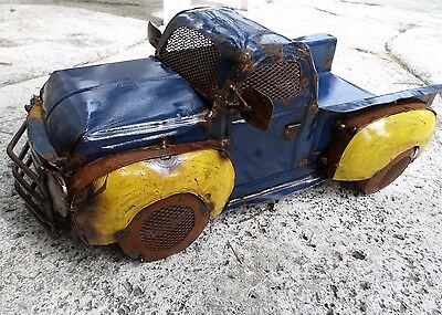 """Large 17"""" Recycled Distressed Metal Vintage Look Truck Ford Chevy Blue Yellow"""