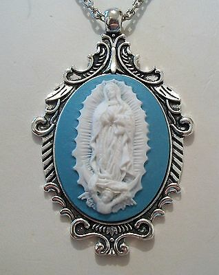 Lady of Guadalupe Virgin Mary WEDGEWOOD BLUE Cameo Antqd Silver Pendant Necklace
