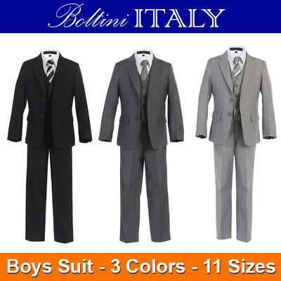 5-PC Boltini Italy Kids Boys Formal Suit Set - Jacket/Vest/Pants/Shirt/Tie - NEW