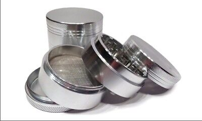 4 Piece Silver Tobacco Herb Grinder Spice Aluminum With Scoop