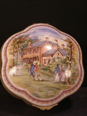 Vintage French Porcelain de Paris Portrait Painting Dresser Jewelry Vanity Box~3