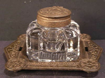 19c Victorian Eastlake Cast Iron Baccarat Crystal Glass Paper Weight Inkwell Dtd