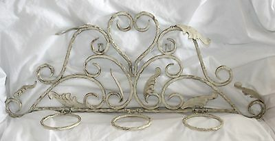 Vtg Heavy Wrought Iron Ivory Wall Mount 3 Candle Or Plant Wall Art Decor Holder